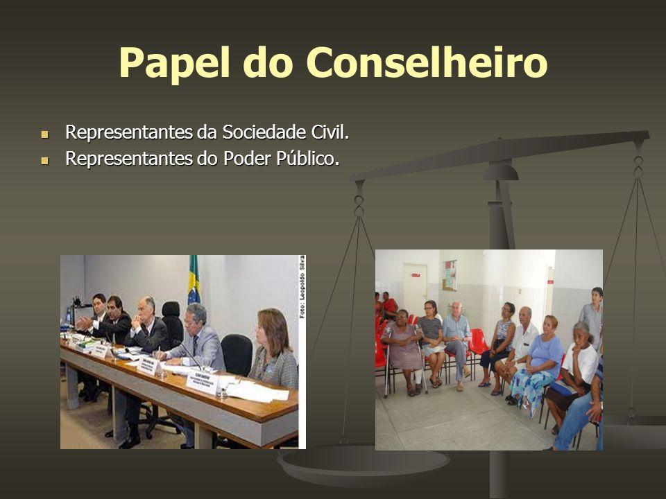 Papel do Conselheiro Representantes da Sociedade Civil. Representantes da Sociedade Civil. Representantes do Poder Público. Representantes do Poder Pú