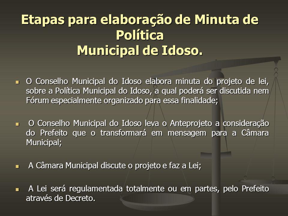 Etapas para elaboração de Minuta de Política Municipal de Idoso. O Conselho Municipal do Idoso elabora minuta do projeto de lei, sobre a Política Muni