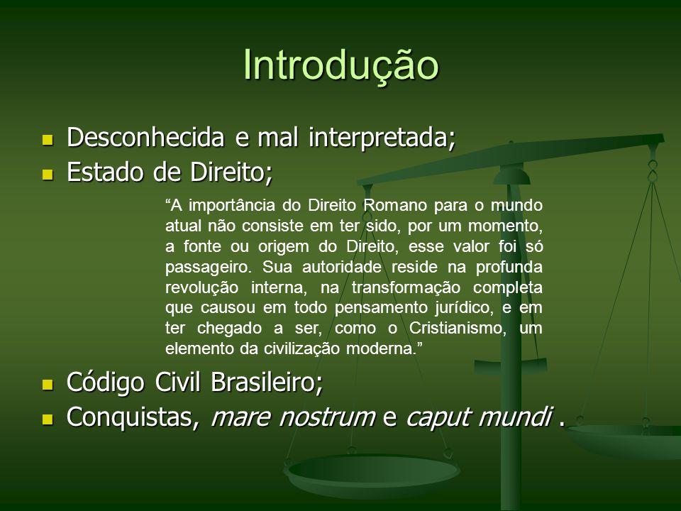 Divisão Baseada na Origem (Fonte do Direito) Ius Civile – Direito tradicional, que provinha dos costumes, das leis, plebiscitos e das Constituições Imperiais.