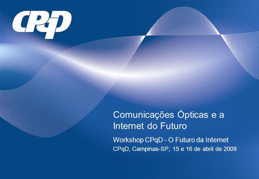 Comunicações Ópticas e a Internet do Futuro Workshop CPqD - O Futuro da Internet CPqD, Campinas-SP, 15 e 16 de abril de 2009