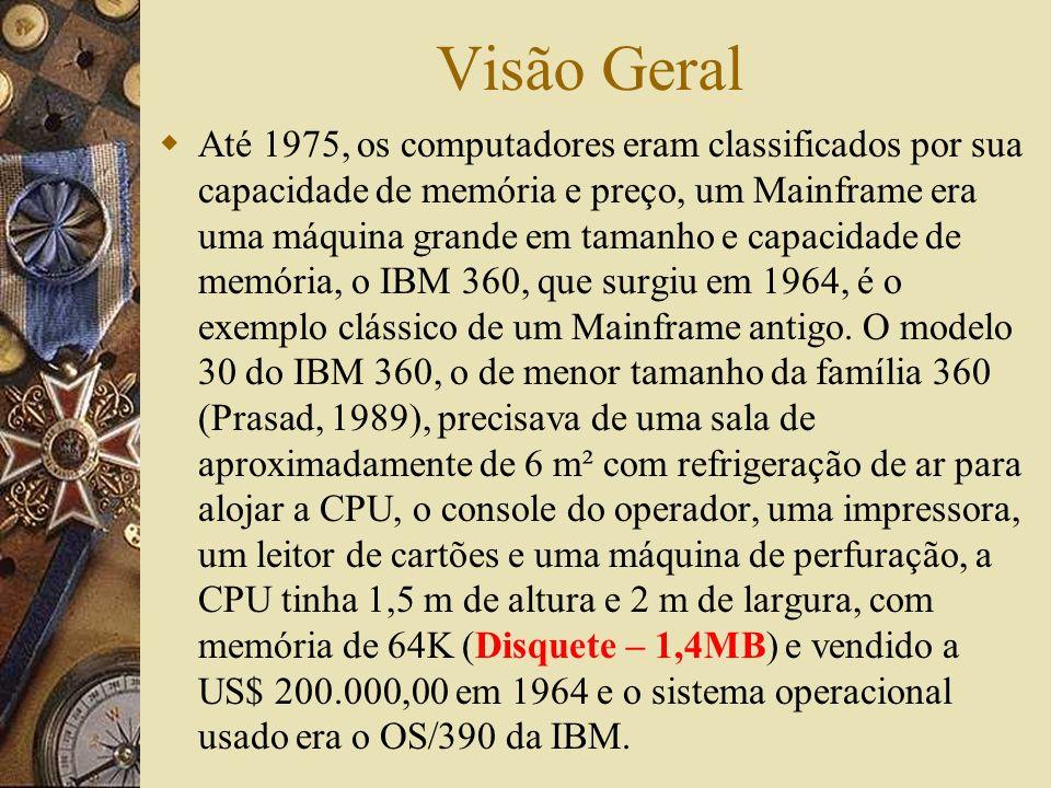 Visão Geral Até 1975, os computadores eram classificados por sua capacidade de memória e preço, um Mainframe era uma máquina grande em tamanho e capac