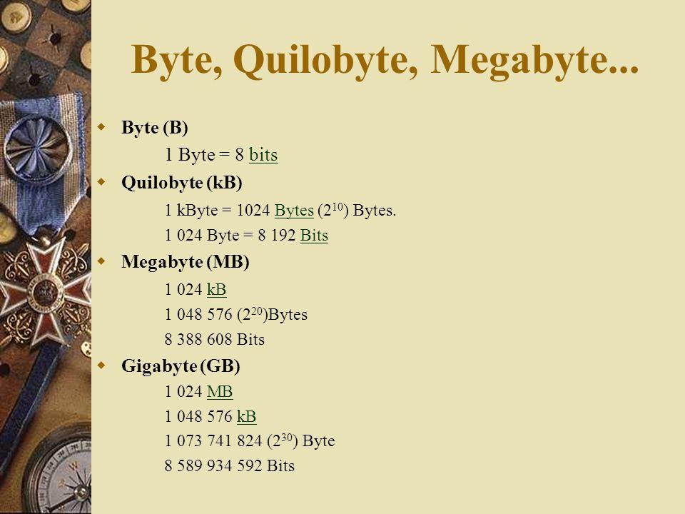 Byte, Quilobyte, Megabyte... Byte (B) 1 Byte = 8 bitsbits Quilobyte (kB) 1 kByte = 1024 Bytes (2 10 ) Bytes.Bytes 1 024 Byte = 8 192 BitsBits Megabyte
