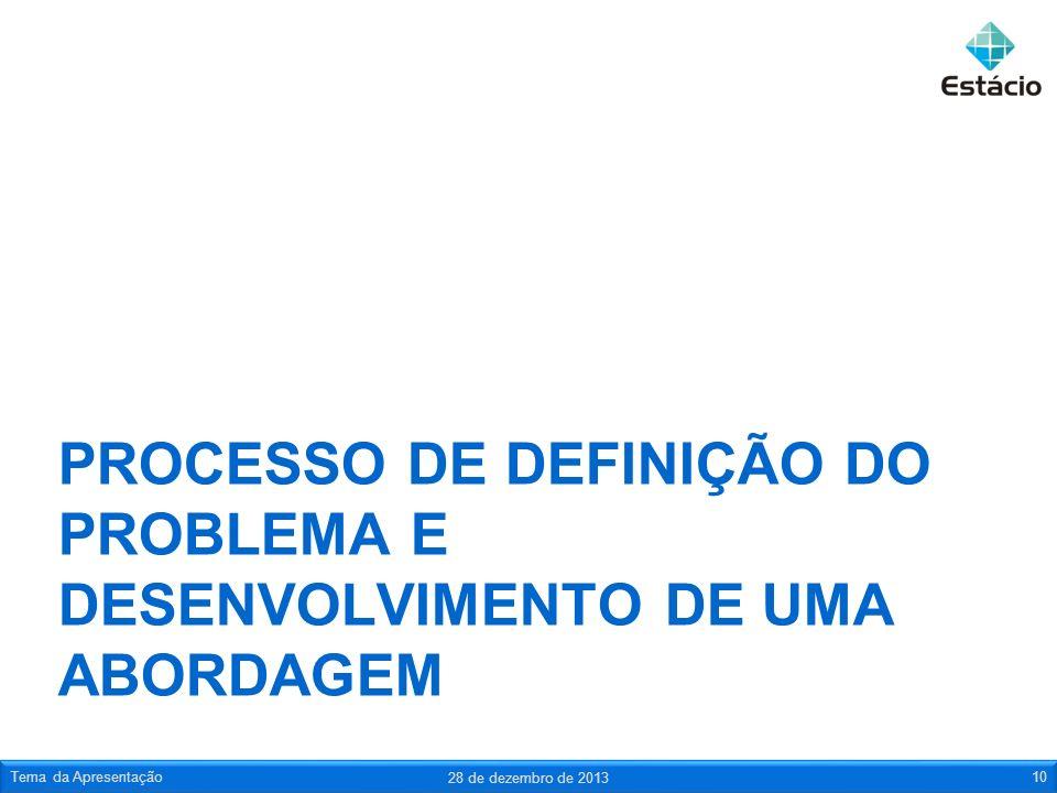 PROCESSO DE DEFINIÇÃO DO PROBLEMA E DESENVOLVIMENTO DE UMA ABORDAGEM 28 de dezembro de 2013 Tema da Apresentação10