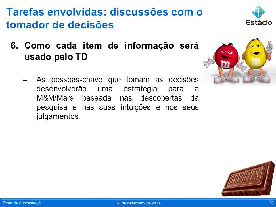 6.Como cada item de informação será usado pelo TD –As pessoas-chave que tomam as decisões desenvolverão uma estratégia para a M&M/Mars baseada nas des