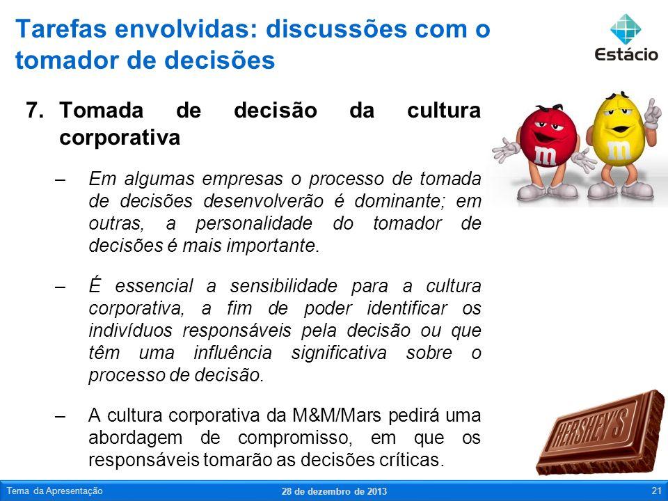 7.Tomada de decisão da cultura corporativa –Em algumas empresas o processo de tomada de decisões desenvolverão é dominante; em outras, a personalidade