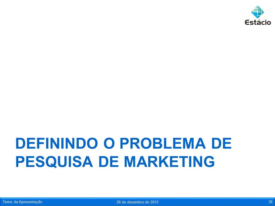 DEFININDO O PROBLEMA DE PESQUISA DE MARKETING 28 de dezembro de 2013 Tema da Apresentação36