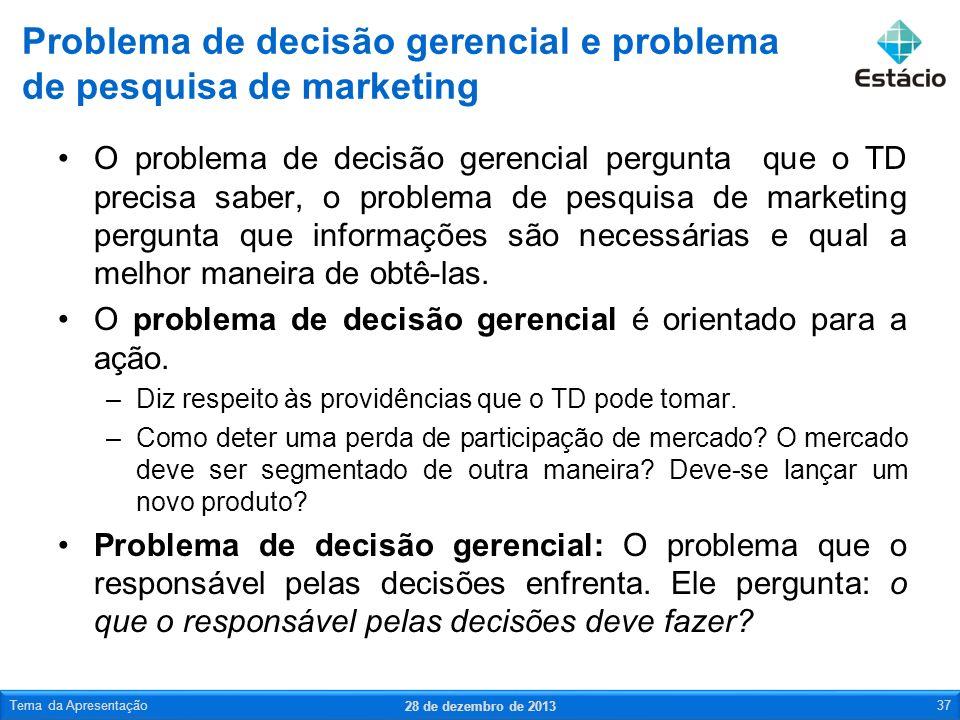 O problema de decisão gerencial pergunta que o TD precisa saber, o problema de pesquisa de marketing pergunta que informações são necessárias e qual a