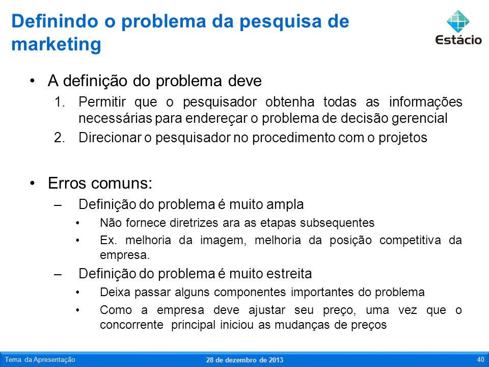 A definição do problema deve 1.Permitir que o pesquisador obtenha todas as informações necessárias para endereçar o problema de decisão gerencial 2.Di