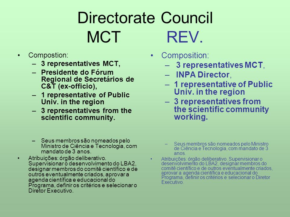 Directorate Council MCT REV.