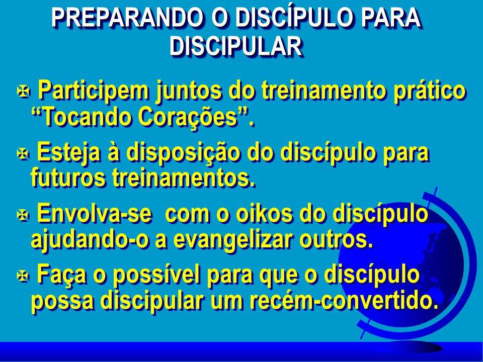 X Participem juntos do treinamento prático Tocando Corações. X Esteja à disposição do discípulo para futuros treinamentos. X Envolva-se com o oikos do