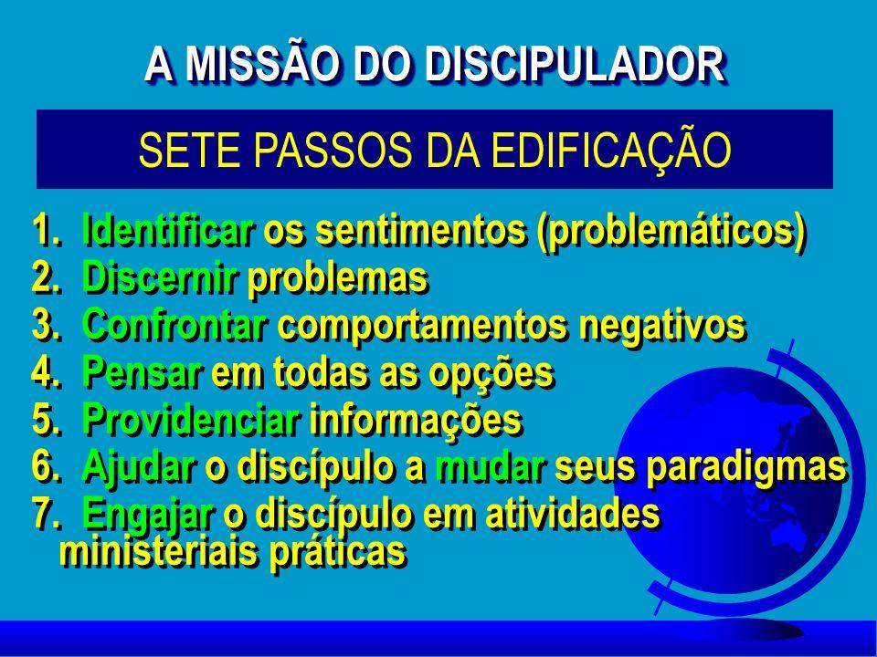 1. Identificar os sentimentos (problemáticos) 2. Discernir problemas 3. Confrontar comportamentos negativos 4. Pensar em todas as opções 5. Providenci
