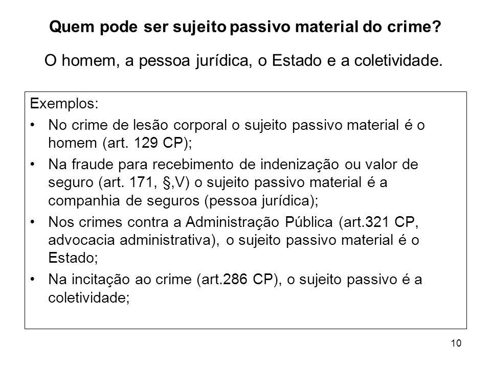 10 Quem pode ser sujeito passivo material do crime? Exemplos: No crime de lesão corporal o sujeito passivo material é o homem (art. 129 CP); Na fraude