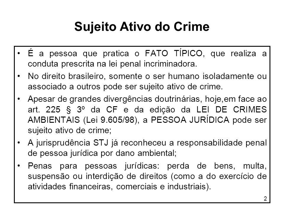 2 Sujeito Ativo do Crime É a pessoa que pratica o FATO TÍPICO, que realiza a conduta prescrita na lei penal incriminadora. No direito brasileiro, some