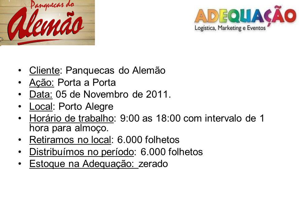 Cliente: Panquecas do Alemão Ação: Porta a Porta Data: 05 de Novembro de 2011. Local: Porto Alegre Horário de trabalho: 9:00 as 18:00 com intervalo de