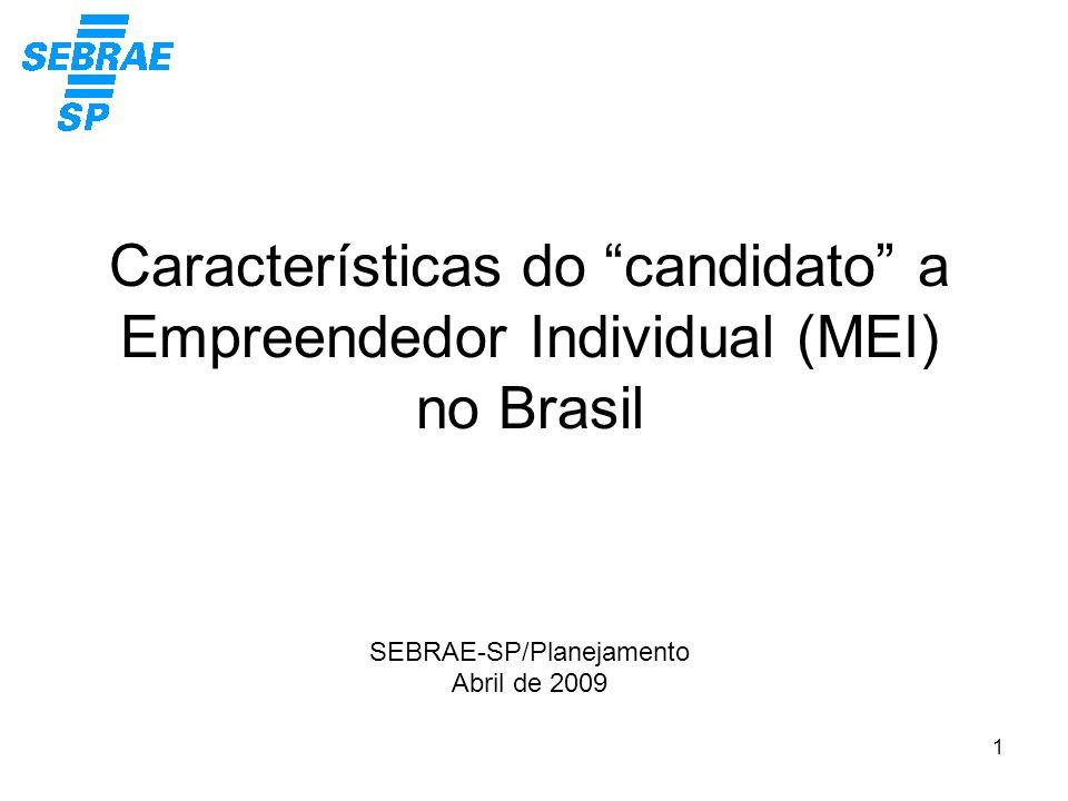 1 Características do candidato a Empreendedor Individual (MEI) no Brasil SEBRAE-SP/Planejamento Abril de 2009