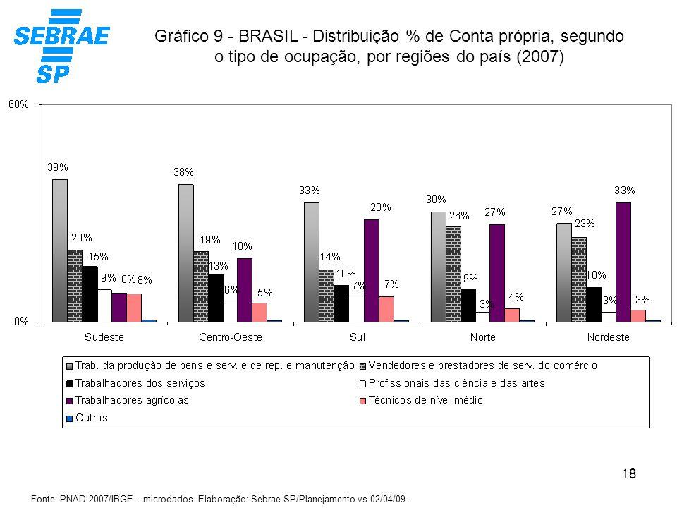 18 Gráfico 9 - BRASIL - Distribuição % de Conta própria, segundo o tipo de ocupação, por regiões do país (2007) Fonte: PNAD-2007/IBGE - microdados. El
