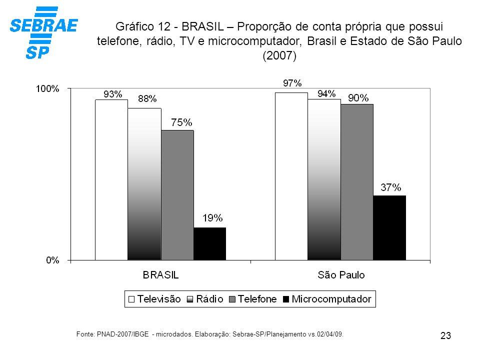 23 Gráfico 12 - BRASIL – Proporção de conta própria que possui telefone, rádio, TV e microcomputador, Brasil e Estado de São Paulo (2007) Fonte: PNAD-