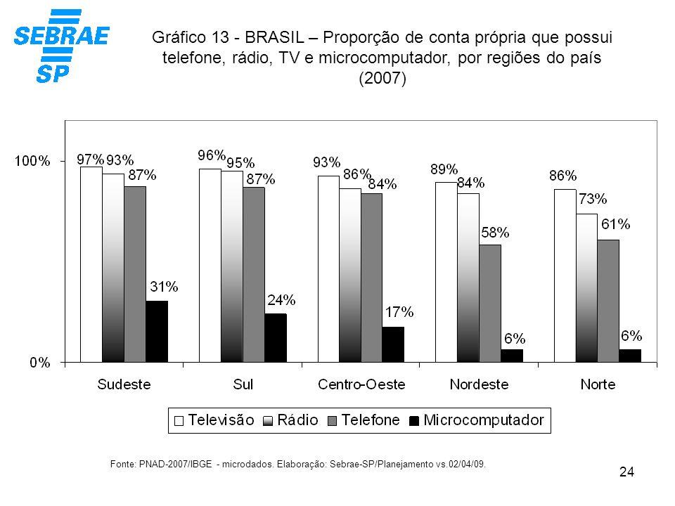24 Gráfico 13 - BRASIL – Proporção de conta própria que possui telefone, rádio, TV e microcomputador, por regiões do país (2007) Fonte: PNAD-2007/IBGE