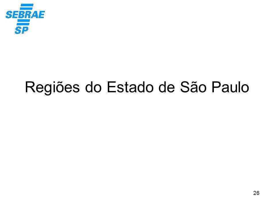 26 Regiões do Estado de São Paulo