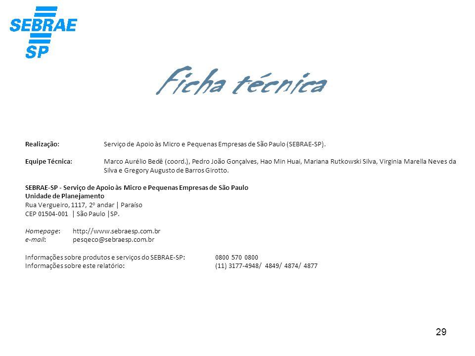 29 Realização: Equipe Técnica: SEBRAE-SP - Serviço de Apoio às Micro e Pequenas Empresas de São Paulo Unidade de Planejamento Rua Vergueiro, 1117, 2 o