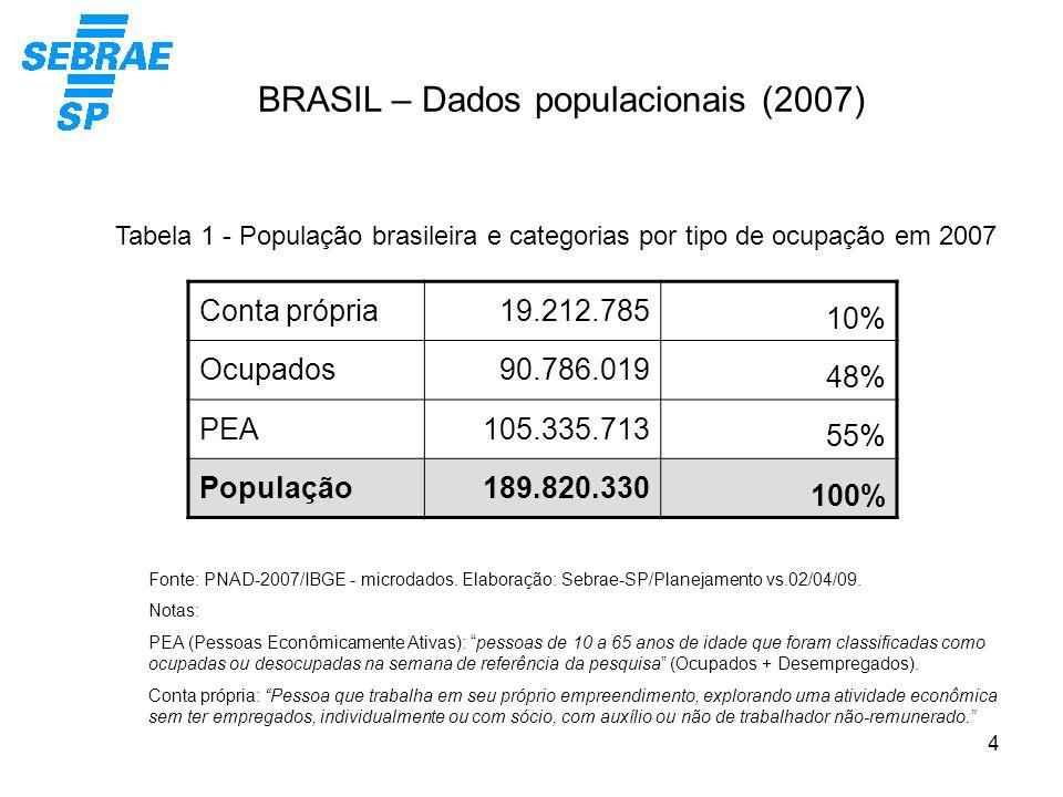 4 BRASIL – Dados populacionais (2007) Conta própria19.212.785 10% Ocupados90.786.019 48% PEA105.335.713 55% População189.820.330 100% Tabela 1 - Popul