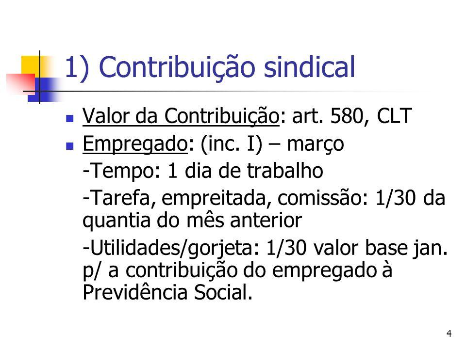 5 1) Contribuição sindical Empresa: s/ o capital social (inc.