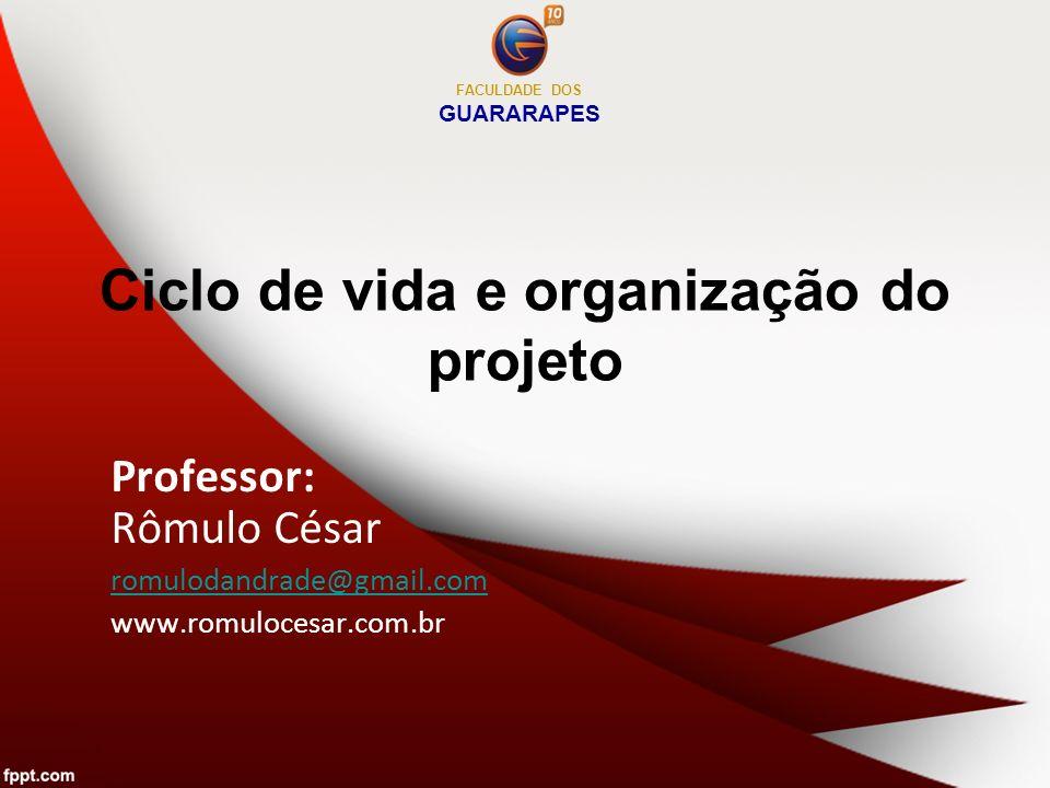 Ciclo de vida e organização do projeto Professor: Rômulo César romulodandrade@gmail.com www.romulocesar.com.br FACULDADE DOS GUARARAPES