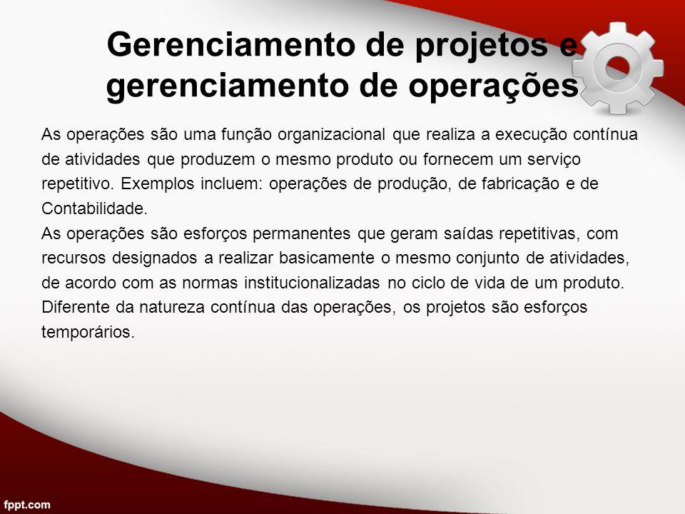 Gerenciamento de projetos e gerenciamento de operações As operações são uma função organizacional que realiza a execução contínua de atividades que pr