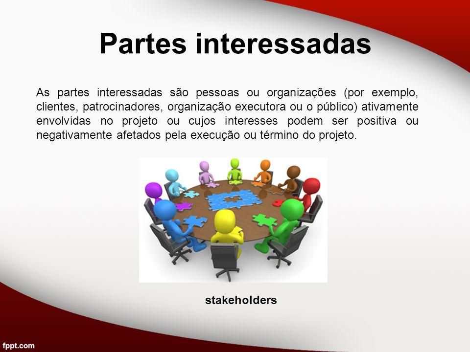 Partes interessadas As partes interessadas são pessoas ou organizações (por exemplo, clientes, patrocinadores, organização executora ou o público) ati