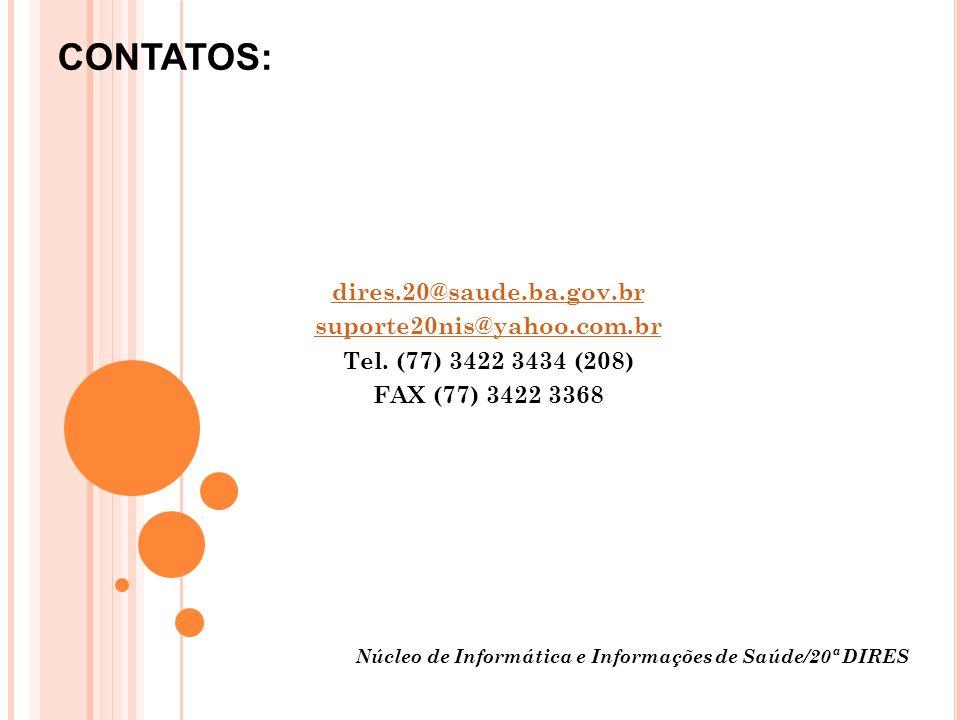 Núcleo de Informática e Informações de Saúde/20ª DIRES Obrigada.