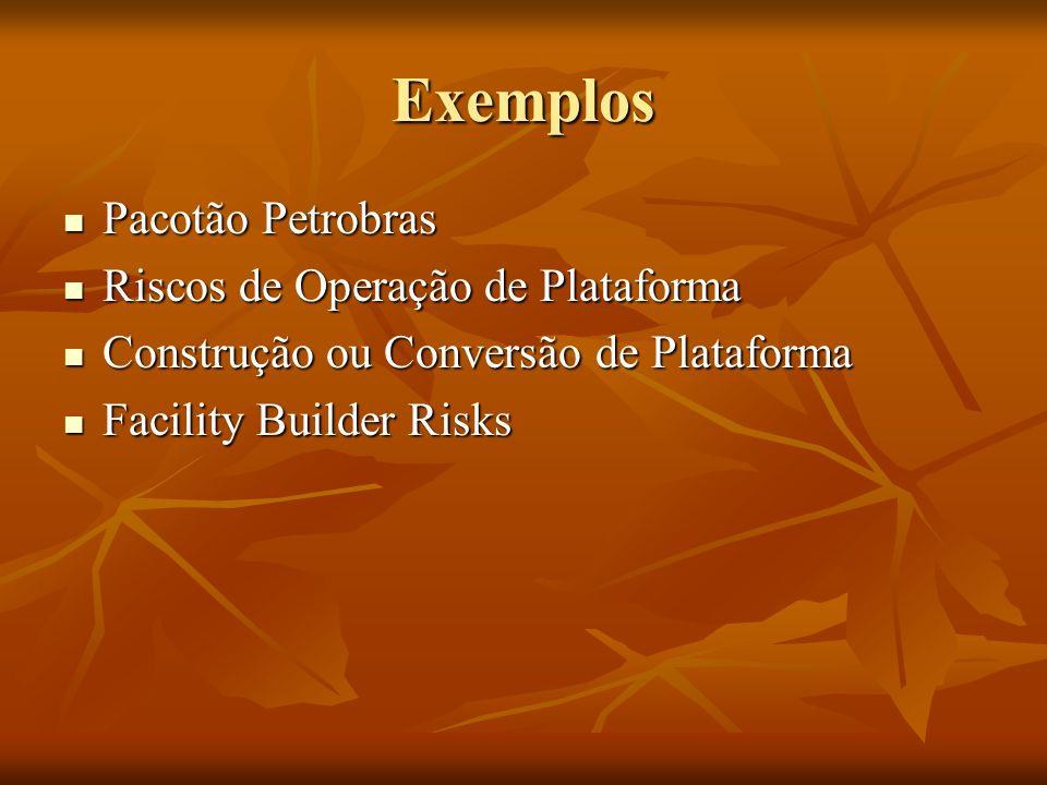 Exemplos Pacotão Petrobras Pacotão Petrobras Riscos de Operação de Plataforma Riscos de Operação de Plataforma Construção ou Conversão de Plataforma Construção ou Conversão de Plataforma Facility Builder Risks Facility Builder Risks