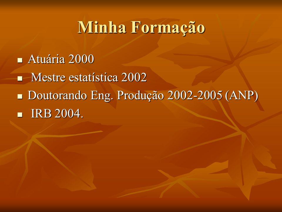 Minha Formação Atuária 2000 Atuária 2000 Mestre estatística 2002 Mestre estatística 2002 Doutorando Eng.