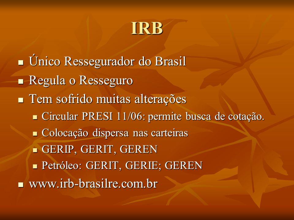 IRB Único Ressegurador do Brasil Único Ressegurador do Brasil Regula o Resseguro Regula o Resseguro Tem sofrido muitas alterações Tem sofrido muitas alterações Circular PRESI 11/06: permite busca de cotação.