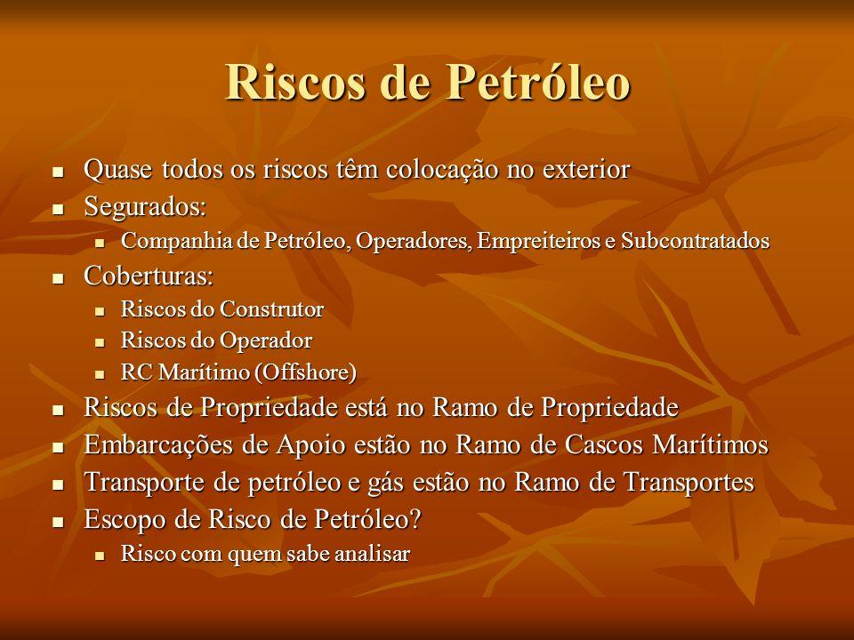 Riscos de Petróleo Quase todos os riscos têm colocação no exterior Quase todos os riscos têm colocação no exterior Segurados: Segurados: Companhia de Petróleo, Operadores, Empreiteiros e Subcontratados Companhia de Petróleo, Operadores, Empreiteiros e Subcontratados Coberturas: Coberturas: Riscos do Construtor Riscos do Construtor Riscos do Operador Riscos do Operador RC Marítimo (Offshore) RC Marítimo (Offshore) Riscos de Propriedade está no Ramo de Propriedade Riscos de Propriedade está no Ramo de Propriedade Embarcações de Apoio estão no Ramo de Cascos Marítimos Embarcações de Apoio estão no Ramo de Cascos Marítimos Transporte de petróleo e gás estão no Ramo de Transportes Transporte de petróleo e gás estão no Ramo de Transportes Escopo de Risco de Petróleo.