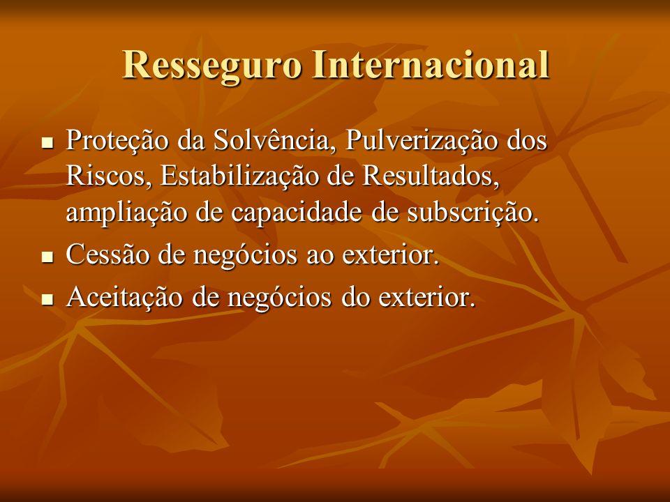 Resseguro Internacional Proteção da Solvência, Pulverização dos Riscos, Estabilização de Resultados, ampliação de capacidade de subscrição.
