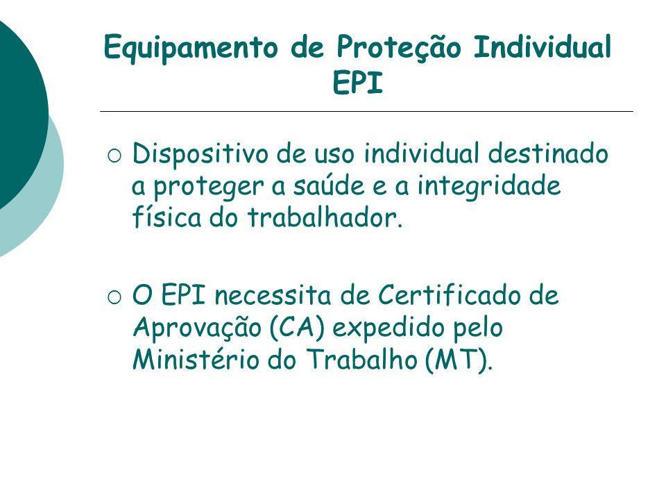 Equipamento de Proteção Individual EPI Dispositivo de uso individual destinado a proteger a saúde e a integridade física do trabalhador. O EPI necessi