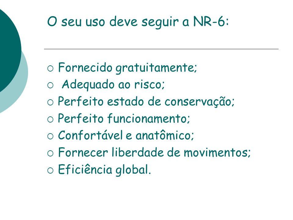 O seu uso deve seguir a NR-6: Fornecido gratuitamente; Adequado ao risco; Perfeito estado de conservação; Perfeito funcionamento; Confortável e anatôm