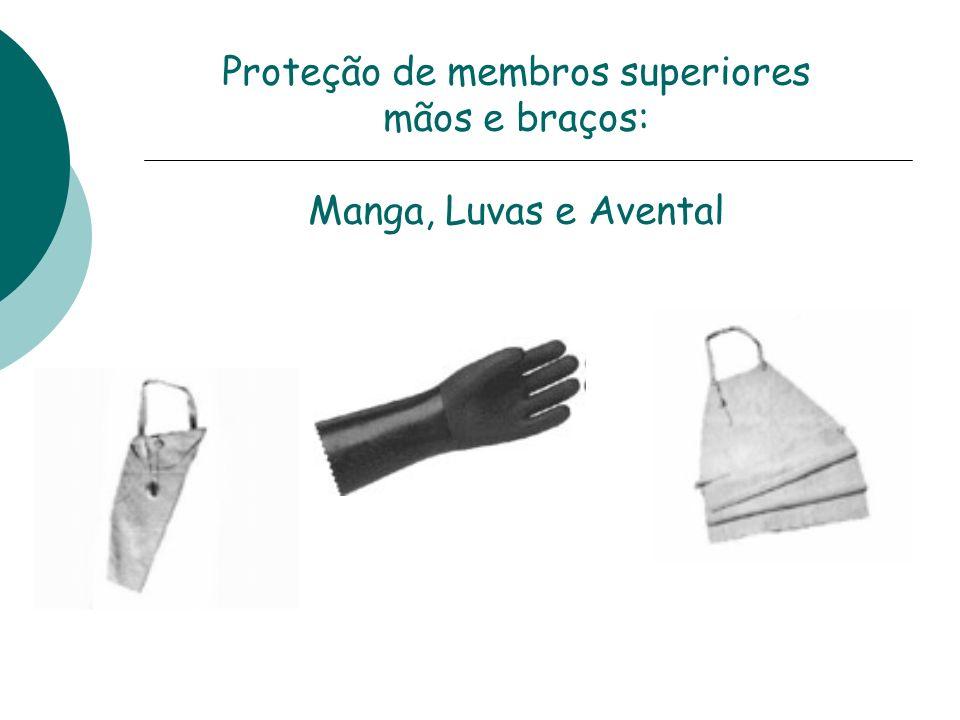 Proteção de membros superiores mãos e braços: Manga, Luvas e Avental