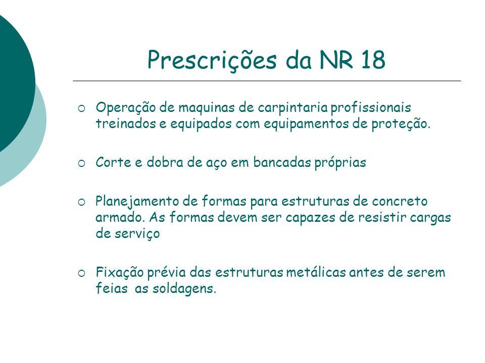 Prescrições da NR 18 Operação de maquinas de carpintaria profissionais treinados e equipados com equipamentos de proteção. Corte e dobra de aço em ban