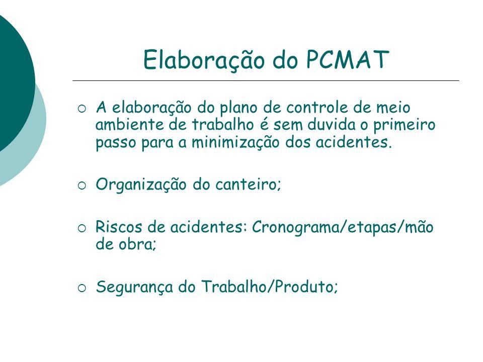 Elaboração do PCMAT A elaboração do plano de controle de meio ambiente de trabalho é sem duvida o primeiro passo para a minimização dos acidentes. Org