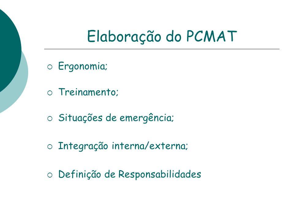 Elaboração do PCMAT Ergonomia; Treinamento; Situações de emergência; Integração interna/externa; Definição de Responsabilidades