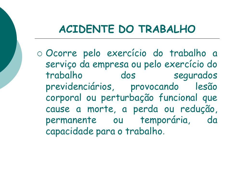 Consideram-se acidente do trabalho: Doença profissional: produzida ou desencadeada pelo exercício do trabalho peculiar a determinada atividade constante.