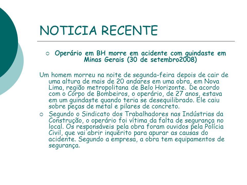 NOTICIA RECENTE Operário em BH morre em acidente com guindaste em Minas Gerais (30 de setembro2008) Um homem morreu na noite de segunda-feira depois d