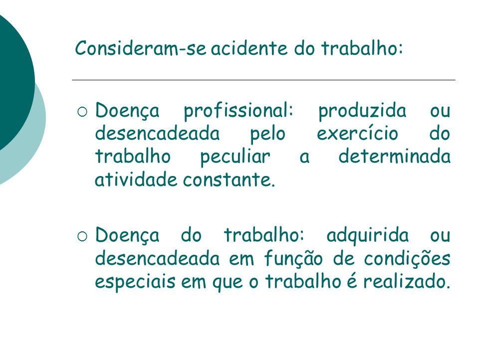 Consideram-se acidente do trabalho: Doença profissional: produzida ou desencadeada pelo exercício do trabalho peculiar a determinada atividade constan