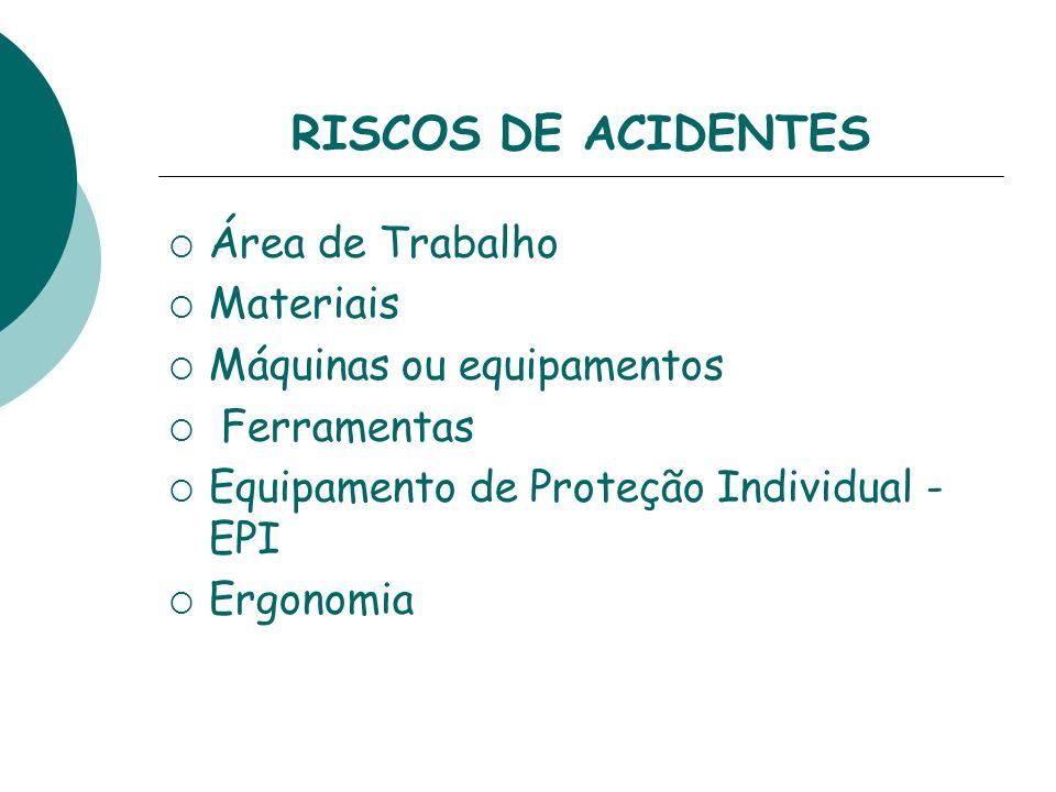 RISCOS DE ACIDENTES Área de Trabalho Materiais Máquinas ou equipamentos Ferramentas Equipamento de Proteção Individual - EPI Ergonomia