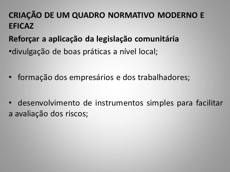 CRIAÇÃO DE UM QUADRO NORMATIVO MODERNO E EFICAZ Reforçar a aplicação da legislação comunitária divulgação de boas práticas a nível local; formação dos