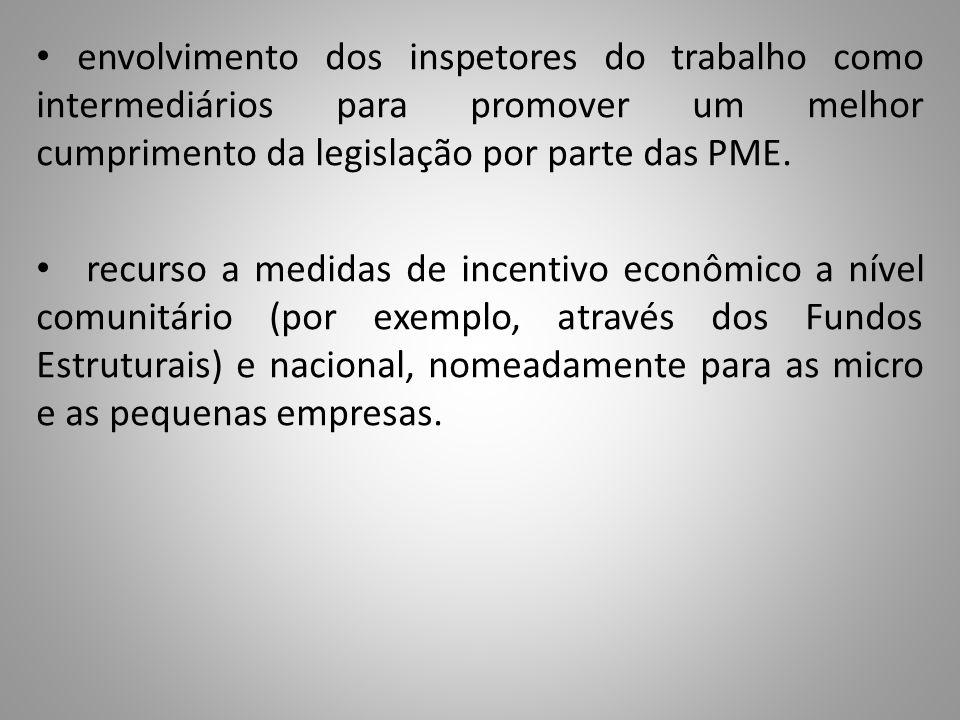 envolvimento dos inspetores do trabalho como intermediários para promover um melhor cumprimento da legislação por parte das PME. recurso a medidas de
