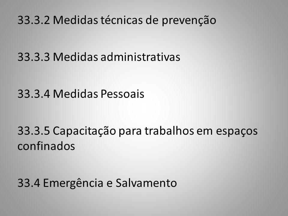 33.3.2 Medidas técnicas de prevenção 33.3.3 Medidas administrativas 33.3.4 Medidas Pessoais 33.3.5 Capacitação para trabalhos em espaços confinados 33