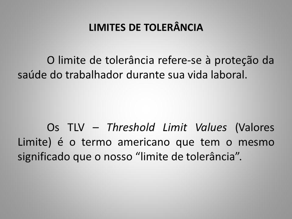 LIMITES DE TOLERÂNCIA O limite de tolerância refere-se à proteção da saúde do trabalhador durante sua vida laboral. Os TLV – Threshold Limit Values (V