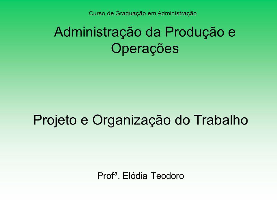 Projeto e Organização do Trabalho Profª. Elódia Teodoro Curso de Graduação em Administração Administração da Produção e Operações